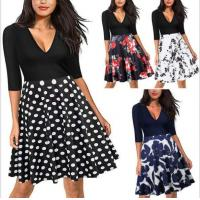 Buy cheap 2017 Fall Floral V Neck Vintage Dress Half Sleeve from wholesalers
