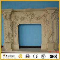 China Culture Stone Indoor Sandstone Floral Carving Fireplace Surround on sale