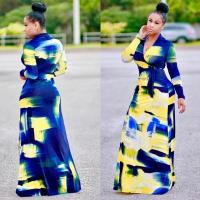 Best Blue and Yellow Print Long Sleeve Wrap Maxi Dress 25144 #25144 wholesale