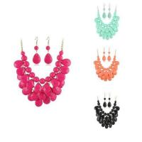 Best Fashion Women Jewelry Colourful Diamond Shape Resin Necklace Sets Colorful Jewellery wholesale