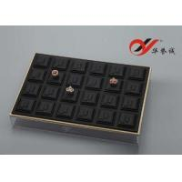 Best Ring / Jewelry Display Trays 24 Slots Pu Leather Stackable With Acrylic Cover wholesale