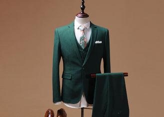 China Italian Style Tailored Three Piece SuitGreen Color Contrast Flap Two Pockets