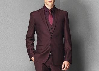 Cheap Tailored Business Mens Prom Slim Fit TuxedoRed Color Breathable Polyester Material for sale