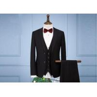 Buy cheap OEM England Men Full Black Tuxedo Suit Anti - Wrinkle Three Pieces 65% Polyester from wholesalers
