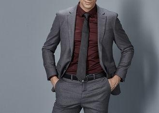 China Cotton Formal Male Grey 2 Piece SuitTwo Straight Pockets S--XXXL Size Regular Fit