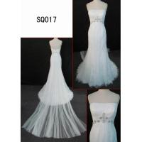 Best SQ017 newest corded lace wedding gown with tulle or netting tail or train and shiny beading wholesale