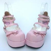 Cheap Apparel & Accessories Amanda99 7.5cm Heel With 4.5cm Platform Pink PU Lolita Shoes for sale