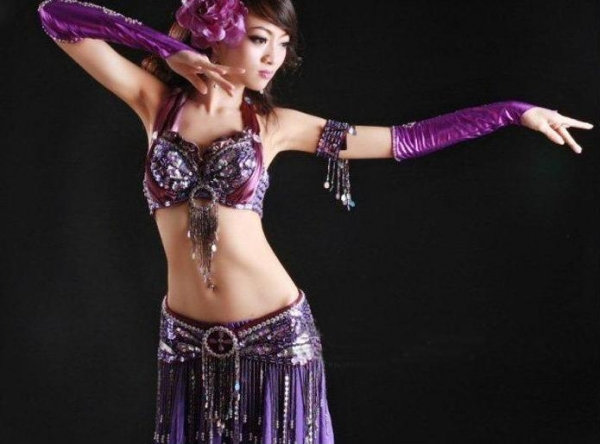 Cheap 4pcs Sexy Purple Tribal Belly Dance Costume Set for sale