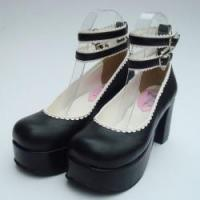 Buy cheap Apparel & Accessories Amanda99 8cm Heel With 4cm Platform Black PU Lolita Shoes from wholesalers