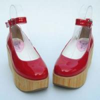 Cheap Apparel & Accessories Amanda99 8cm Heel With 5cm Platform Red PU Lolita Shoes for sale