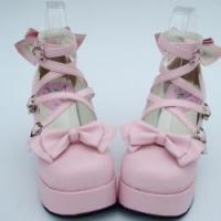 Buy cheap Apparel & Accessories Amanda99 8cm Heel With 4cm Platform Pink bow decoration Lolita Shoes from wholesalers