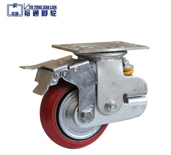 Cheap Single Spring PU Korean Shock Absorbing caster with brake for sale