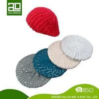 China KNITTED CUTTING HAT BEANIE BERET WOMEN KNITTING BERET HAT-1 on sale