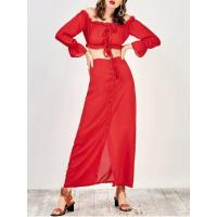Best Dresses Off The Shoulder Crop Top And Maxi Skirt - Red M wholesale