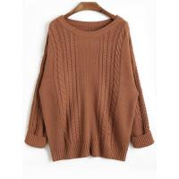 Women Drop Shoulder Plain Cable Knit Sweater - Coffee