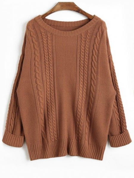 Cheap Women Drop Shoulder Plain Cable Knit Sweater - Coffee for sale