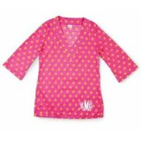 Monogrammed Tunic - Monogrammed Cover Up - Bright Polka Dots