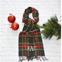 Best Monogrammed Plaid Scarf - Charcoal Red & Green wholesale
