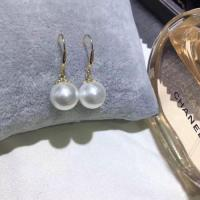 China 8-8.5mm fresh water pearl earrings set in gold /silver on sale