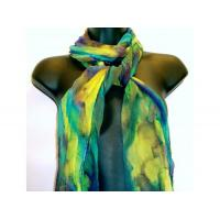 China Fiber Art & Weaving Hand painted silk crinkle chiffon scarf on sale
