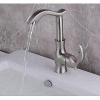 China Faucets Brushed Nickel Waterfall Bathroom Sink Faucet Single Lever Basin Mixer Tap Brass on sale