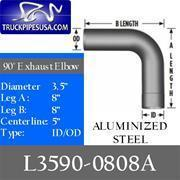 Cheap ALL 3.5'' PIPE TYPES 3.5'' 90 Degree 8'' x 8'' ID-OD Aluminized Exhaust Elbow for sale