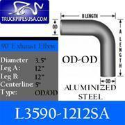 Cheap ALL 3.5'' PIPE TYPES 3.5'' 90 Degree 12'' x 12'' OD-OD Aluminized Exhaust Elbow for sale