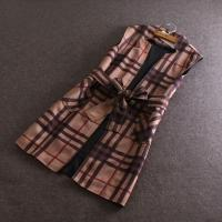 Best New Fashion Stand Collar With Belt Faux Suede Material In Checked Print Women Long Vest Coat wholesale