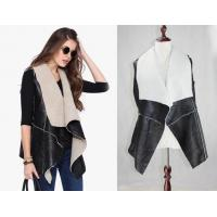 Buy cheap Women Faux Fur Lapel Peacoat Open Front Fold Over Collar Spliced Shearling Vest from wholesalers
