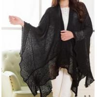 China Poncho Simple Knitted Solid Wraps on sale