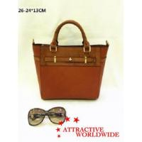 PU Leather Ladies Tote Bags with Hand Knitted Pattern
