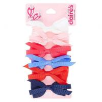 Kids 6 Pack Large Looped Fabric Bows Hair Clips