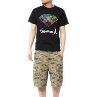 China Colorful Diamond Theme Print Vintage Short Sleeve T-shirt for Men on sale