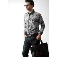 China Men's Black Fashion Print Button-up Straight Long Sleeve Cotton Shirt on sale