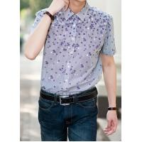 China Men's Fashion Floral Print Button-up Short Sleeve Cotton Shirt on sale