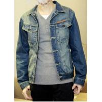 China Men's Slim Roll Collar Long Sleeve Single Breasted Denim Jeans Coat|Jacket on sale