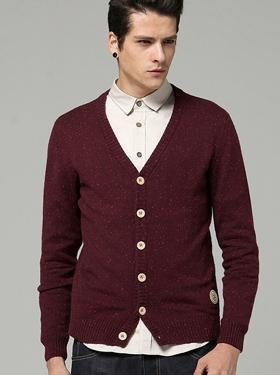 Cheap Men's Casual Spot V Neck Long Sleeve Cardigan Sweater 98/38.6 for sale