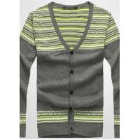 China Men's Fashion V-neck Stripe Cotton Cardigan on sale