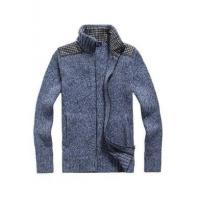 Best Men's Stand-up Collar Patch Decoration Wool & Cashmere Cardigan wholesale