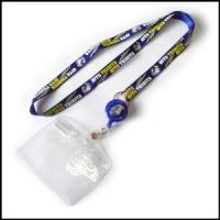 Best Blue Nylon Activity Item Lanyard with Bulldog Clip and PVC Card Holder wholesale