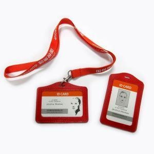 Cheap PU Worker Name Card Badge Neck Strap with Business Logo for sale