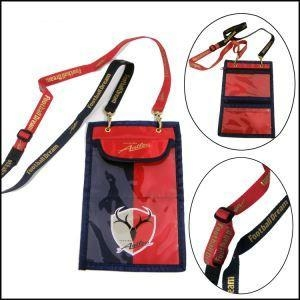 China Double Ended Bulldog Clips Polyester Lanyards with Passport Pouch