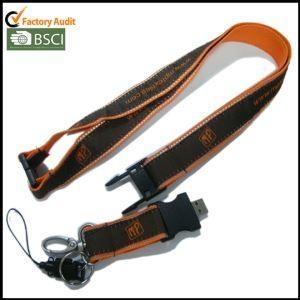 Cheap USB Woven-logo Satin Lanyards with Reflective String on Both Edges for sale