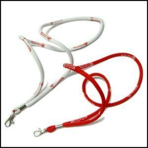 Cheap Round High Elastic Cord Woven Logo Lanyards for sale