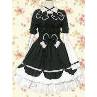 Best Black And White Bow Long Sleeves Gothic Lolita Dress in Cotton wholesale