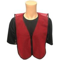 Best Dark Red Open Mesh Plain Safety Vest with ZIPPER FRONT Small Size wholesale