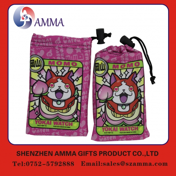 China Microfiber cleaning pouch Durable drawstring microfiber jewely cleaning pouch