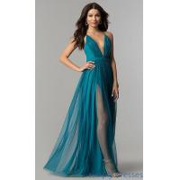Buy cheap Long Teal V-Neck Adjustable-Strap Prom Dress LP-27450T from wholesalers