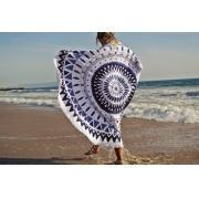 China 100% Cotton Full Reactive Printed Velvet Round Beach Towels With Black Tassels Fringe on sale