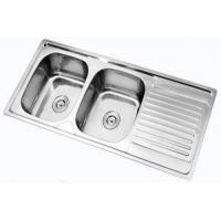 China Stainless steel double bowl sink 120x50cm on sale